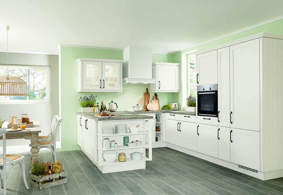 Landelijke keuken wit met groen